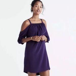 Madewell Size 6 Shift Silk Cold-Shoulder Dress